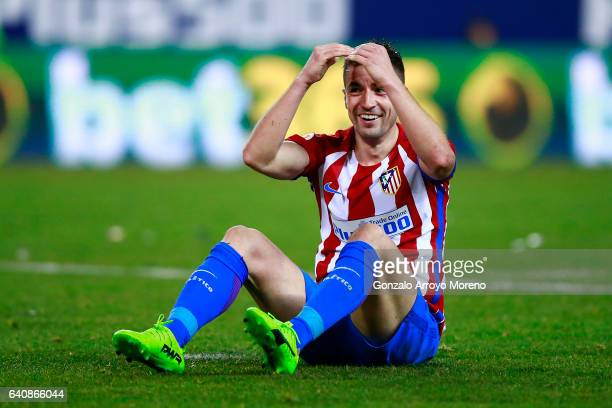 Gabi Fernandez of Atletico de Madrid reacts during the Copa del Rey semifinal first leg match between Club Atletico de Madrid and FC Barcelona at...