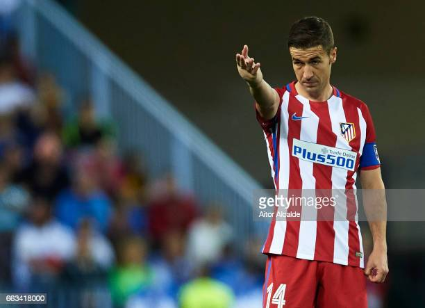 Gabi Fernandez of Club Atletico de Madrid reacts during La Liga match between Malaga CF and Club Atletico de Madrid at La Rosaleda Stadium April 01...