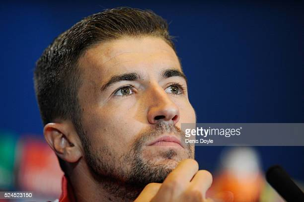 Gabi Fernandez the captain of Atletico Madrid speaks to the media during the Club Atletico de Madrid press conference ahead of the UEFA Champions...