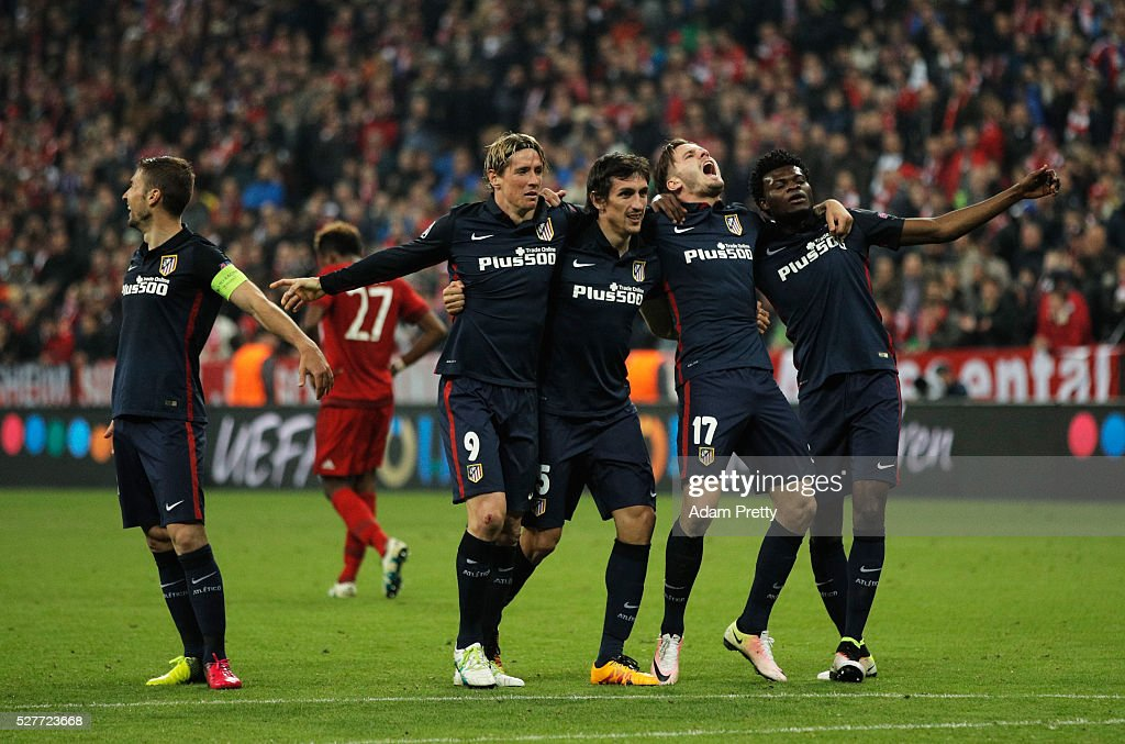 Gabi, Fernando Torres, Stefan Savic, Saul Niguez and Thomas Partey of Atletico Madrid celebrate after the UEFA Champions League semi final second leg match between FC Bayern Muenchen and Club Atletico de Madrid at Allianz Arena on May 3, 2016 in Munich, Germany. Bayern Munich won the match 2-1, but Atletico Madrid reached the final on the away goals rule.