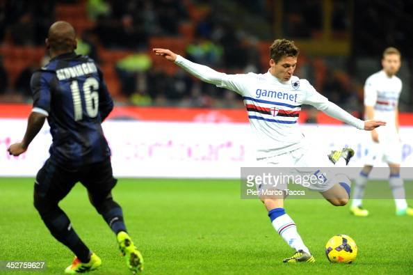 Gabi Mudingayi of FC Internazionale Milano tries to stop the shot of the goal of UC Sampdoria Renan Garcial during the Serie A match between FC...