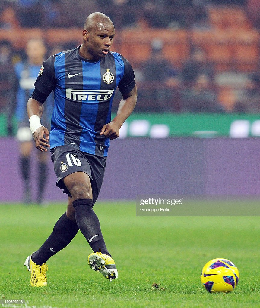 Gabi Mundingayi of Inter in action during the Serie A match between FC Internazionale Milano and Torino FC at San Siro Stadium on January 27, 2013 in Milan, Italy.