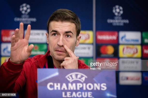 Gabi of Atletico looks on during a press conference prior the UEFA Champions League Round of 16 first leg match between Bayer Leverkusen and Club...