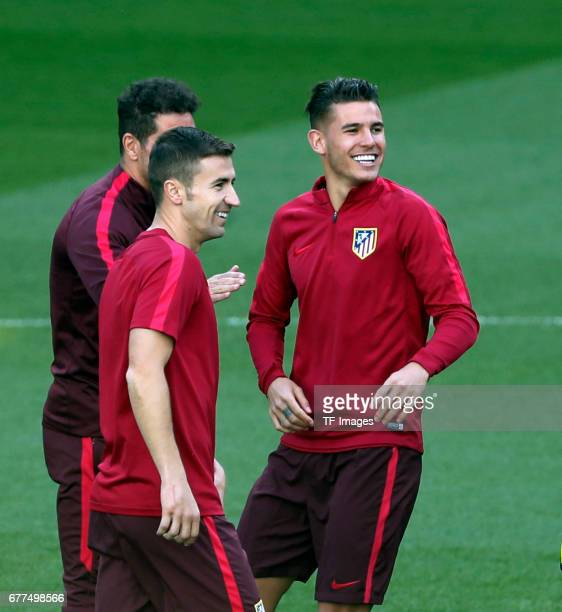 Gabi of Atletico Madrid and Lucas Hernandez of Atletico Madrid during a training session ahead of the UEFA Champions League Semifinal First leg match...