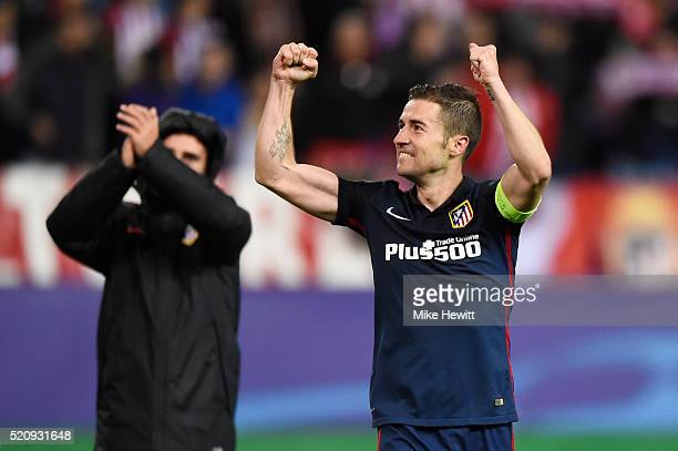 Gabi of Atletico Madrid celebrates after the UEFA Champions League quarter final second leg match between Club Atletico de Madrid and FC Barcelona at...