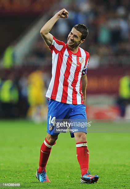 Gabi of Atletico Madrid celebrates at the end of the UEFA Europa League Final between Atletico Madrid and Athletic Bilbao at the National Arena on...