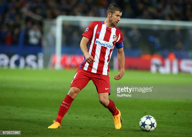 Gabi of Atletico Madrid during UEFA Champions League QuarterFinals match between Leicester City and Atletico Madrid at King Power Stadium Leicester...