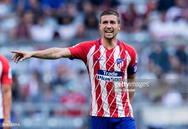 Gabi of Atletico Madrid gestures during Club Atletico de Madrid and SSC Napoli at Allianz Arena on August 1 2017 in Munich Germany