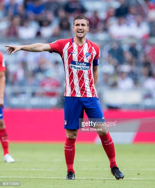 Gabi of Atletico Madrid gestures during the Audi Cup 2017 match between Club Atletico de Madrid and SSC Napoli at Allianz Arena on August 1 2017 in...