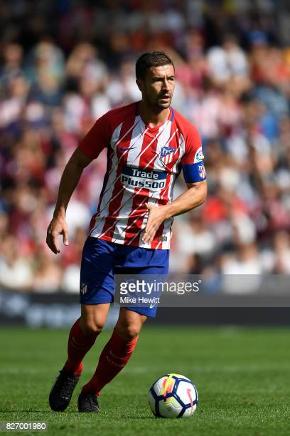 Gabi of Atletico Madrid in action during a Pre Season Friendly between Brighton Hove Albion and Atletico Madrid at Amex Stadium on August 6 2017 in...