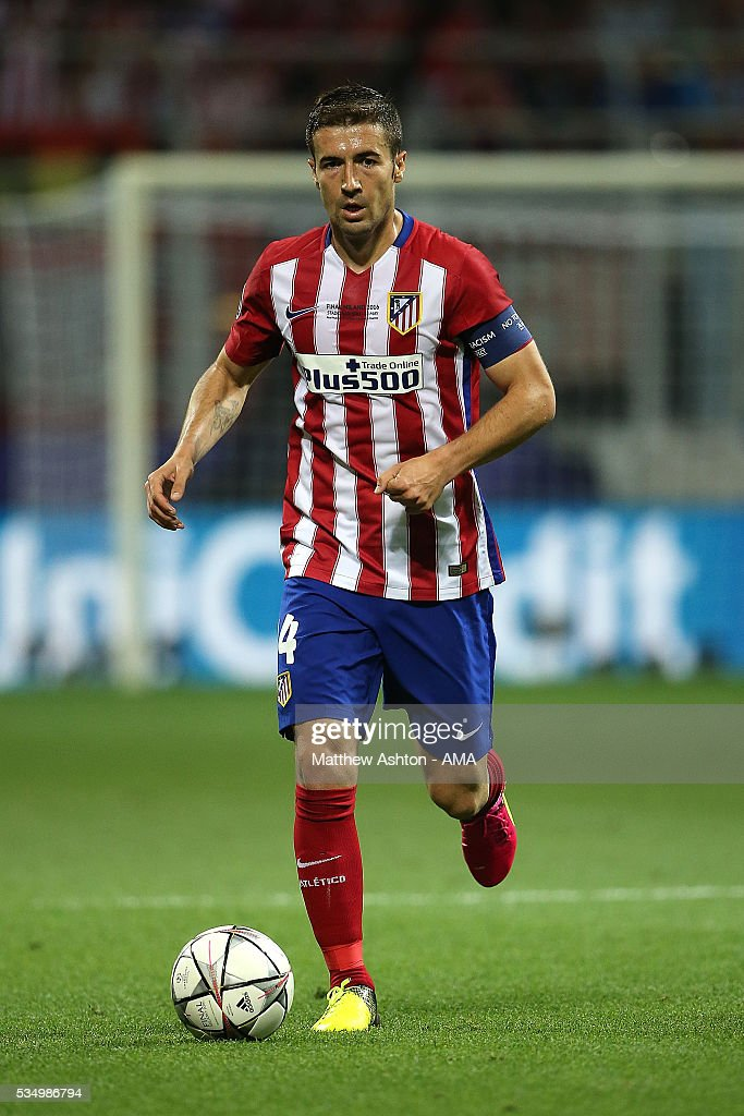 Gabi of Atletico Madrid in action during the UEFA Champions League final match between Real Madrid and Club Atletico de Madrid at Stadio Giuseppe Meazza on May 28, 2016 in Milan, Italy.