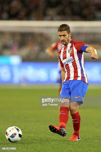 Gabi of Atletico Madrid kicks the ball during 2016 International Champions Cup Australia match between Tottenham Hotspur and Atletico de Madrid at...