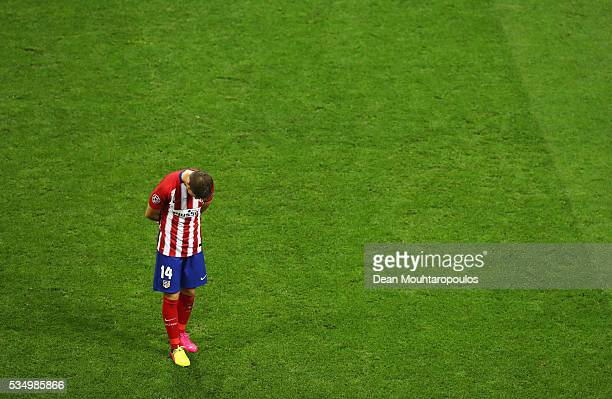 Gabi of Atletico Madrid shows his dejection during the UEFA Champions League Final match between Real Madrid and Club Atletico de Madrid at Stadio...