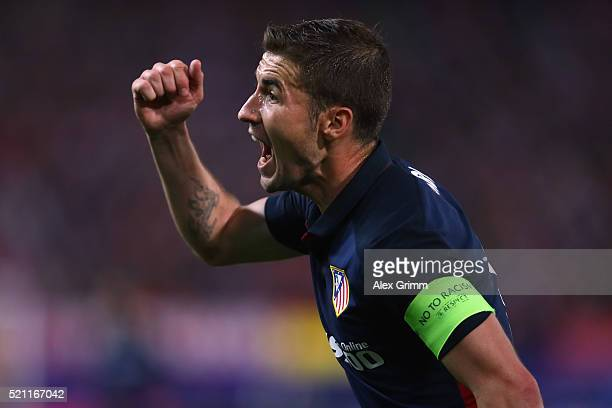 Gabi of Atletico reacts during the UEFA Champions league Quarter Final Second Leg match between Club Atletico de Madrid and FC Barcelona at Vincente...