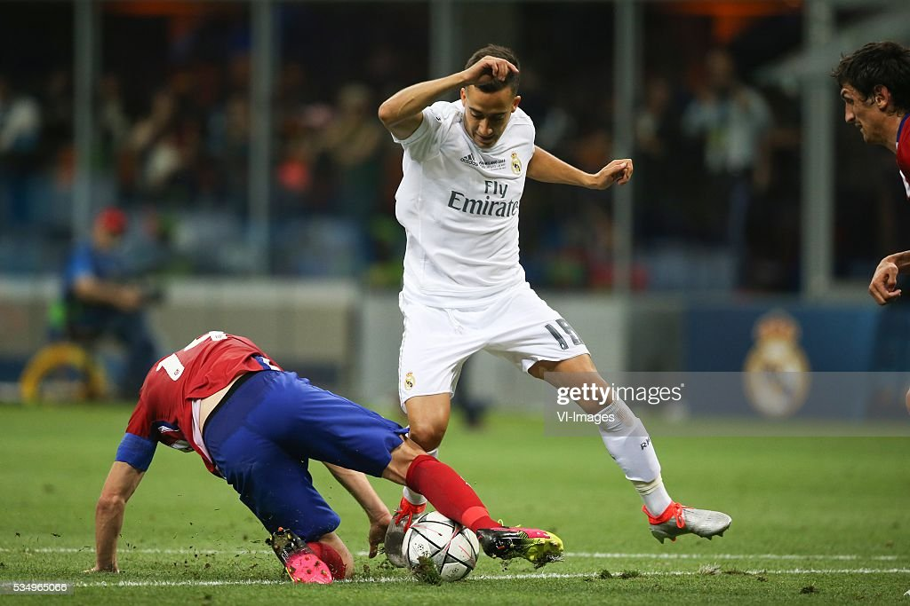 Gabi of Club Atletico de Madrid, Lucas Vazquez of Real Madrid during the UEFA Champions League final match between Real Madrid and Atletico Madrid on May 28, 2016 at the Giuseppe Meazza San Siro stadium in Milan, Italy.
