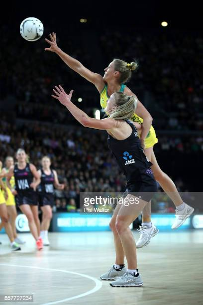 Gabi Simpson of Australia and Shannon Francois of New Zealand contest the ball during the 2017 Constellation Cup match between the New Zealand Silver...