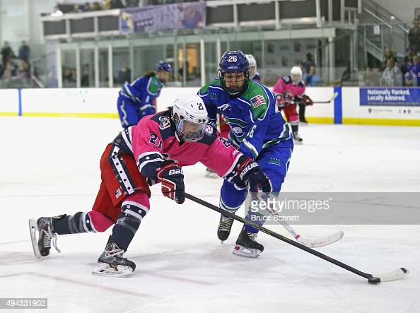 Gabie Figueroa of the New York Riveters of the National Womens Hockey League skates against Jordan Brickner during the game against the Connecticut...