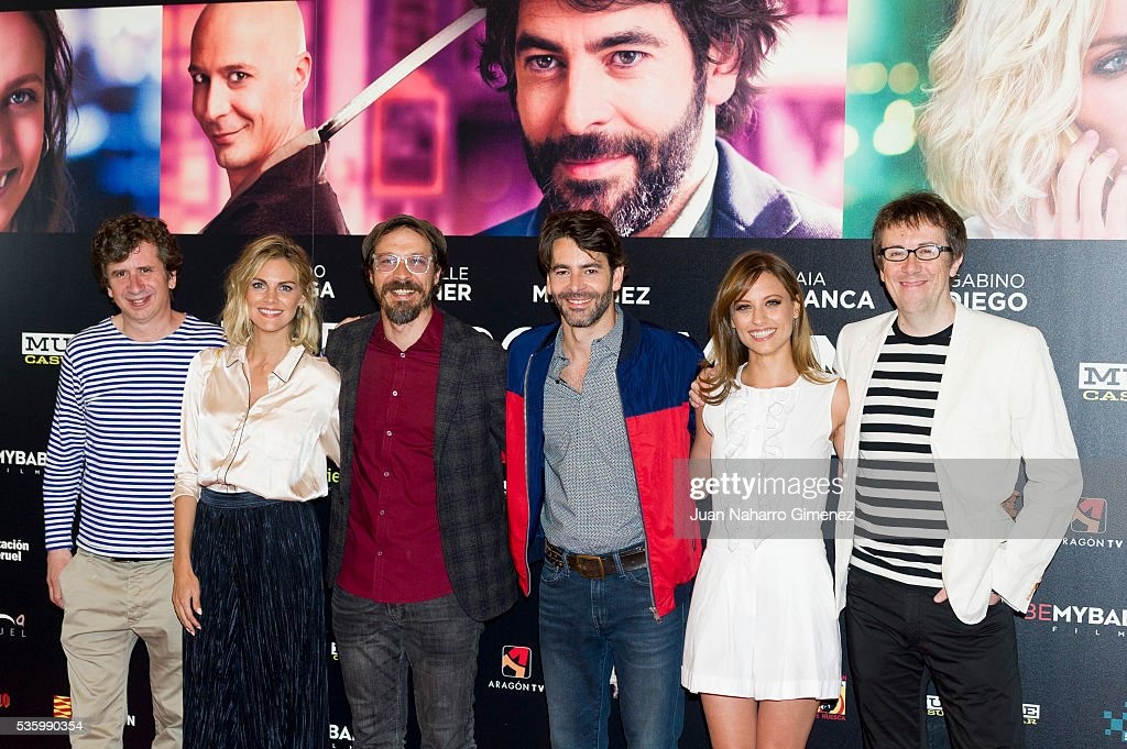 Gabino Diego, Amaia Salamanca, Fele Martinez, Eduardo Noriega, Michelle Jenner and Miguel Angel Lamata attend 'Nuestros Amantes' photocall at Palafox Cinema on May 31, 2016 in Madrid, Spain.