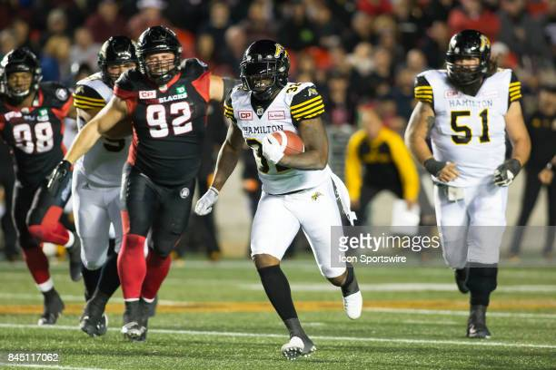 J Gable of the Hamilton TigerCats breaks down field against the Ottawa Redblacks in Canadian Football League Action at TD Place Stadium in Ottawa...