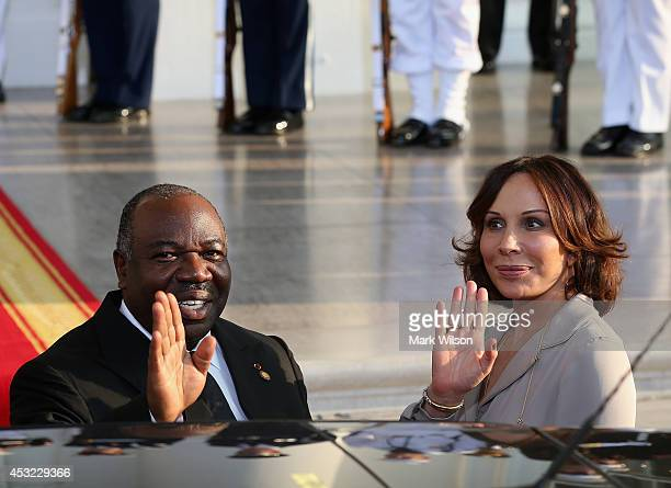 Gabon President Ali Bongo Ondimba and spouse Sylvia Bongo Ondimba arrive at the North Portico of the White House for a State Dinner on the occasion...