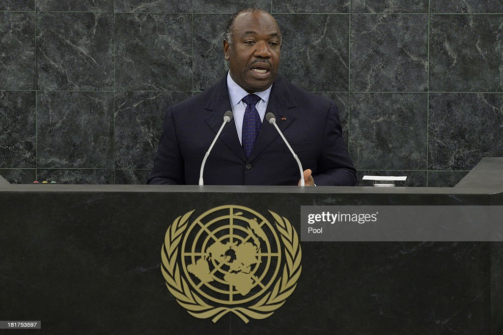 Gabonese President <a gi-track='captionPersonalityLinkClicked' href=/galleries/search?phrase=Ali+Bongo+Ondimba&family=editorial&specificpeople=6166342 ng-click='$event.stopPropagation()'>Ali Bongo Ondimba</a> addresses the U.N. General Assembly on September 24, 2013 in New York City. Over 120 prime ministers, presidents and monarchs are gathering this week for the annual meeting at the temporary General Assembly Hall at the U.N. headquarters while the General Assembly Building is closed for renovations.
