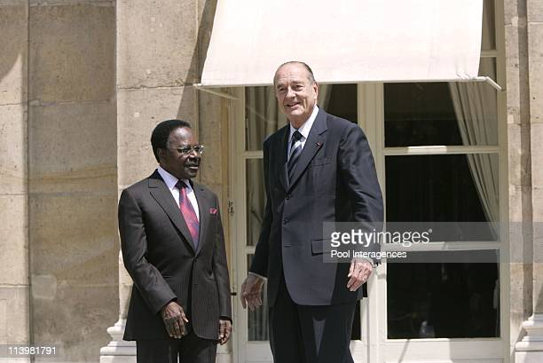 Gabonese President Omar Bongo meets Jacques Chirac at the Elysee Palace in Paris France On June 24 2005 French President Jacques Chirac greets his...