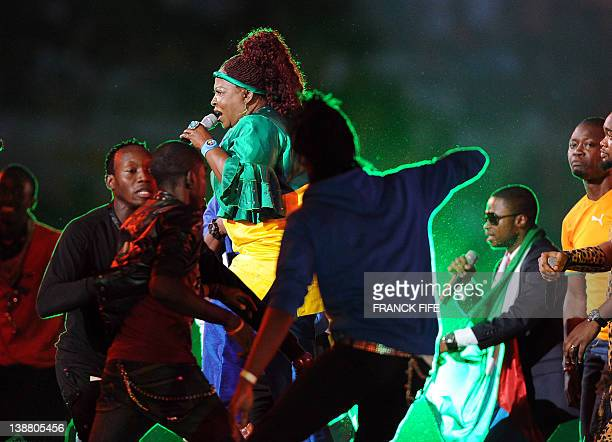 Gabonese singer and musician Patience Dabany performs before the African Cup of Nations final football match between Zambia and Ivory Coast on...