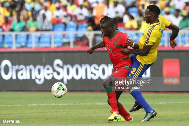 Gabon's defender Aaron Appindangoye challenges GuineaBissau's forward Abel Camara during the 2017 Africa Cup of Nations group A football match...