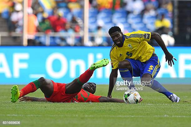 Gabon's defender Bruno Ecuele Manga challenges GuineaBissau's forward Abel Camara during the 2017 Africa Cup of Nations group A football match...