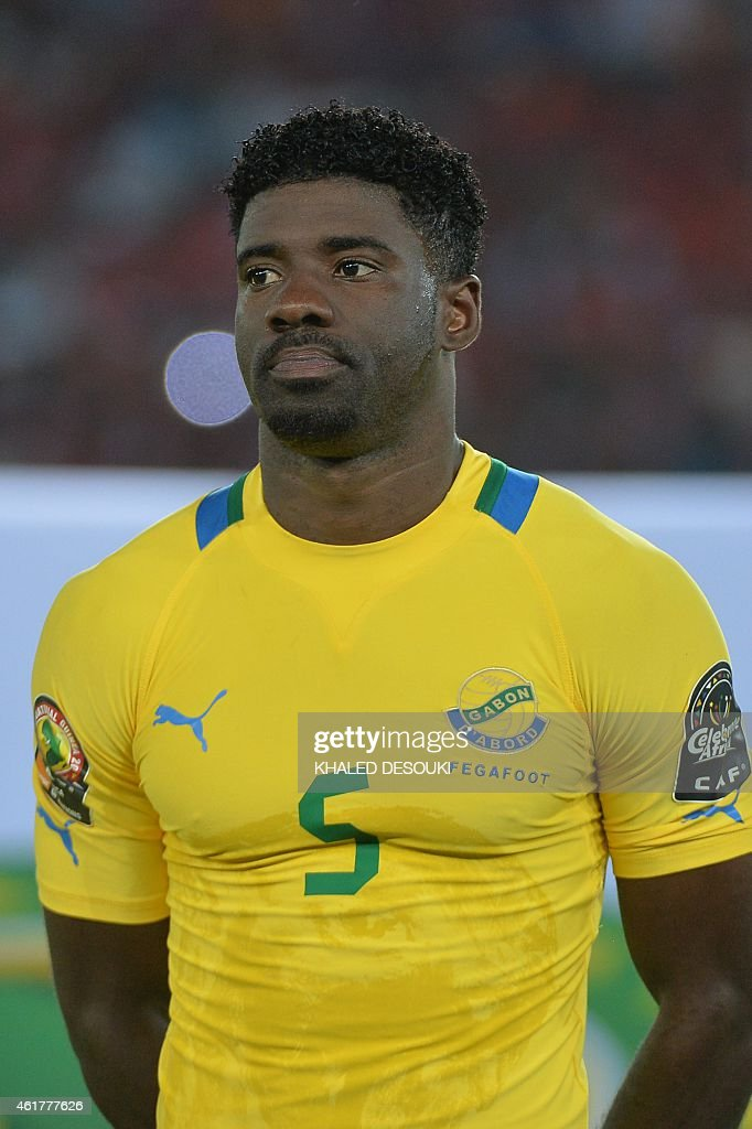 Gabon's defender <a gi-track='captionPersonalityLinkClicked' href=/galleries/search?phrase=Bruno+Ecuele+Manga&family=editorial&specificpeople=7115761 ng-click='$event.stopPropagation()'>Bruno Ecuele Manga</a> poses during the 2015 African Cup of Nations group A football match between Burkina Faso and Gabon at Bata Stadium in Bata on January 17, 2015.