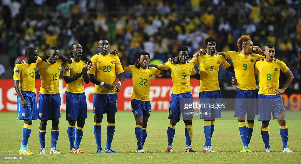 Gabon's players Bruno Zita Mbanangoye Andre Biyogo Poko an unidentified player Fabrice Do Marcolino Anguilet Charly Moussono Edemond Mouele Bruno...