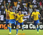 Gabon's players celebrate their team's goal against Morocco during their Africa Cup of Nations 2012 Group C football match between Gabon and Morocco...