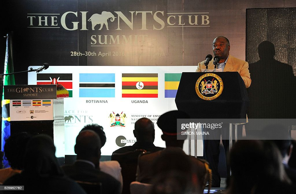 Gabon's President Omar Bongo address delegtaes attending the opening session of the anti-poaching Giants Club Summit meeting in Nanyuki, Laikipia county on April 29, 2016. From anti-poaching commandos deployed by helicopter to boosting court prosecutions: Kenya is hosting a summit on how to end ivory trafficking and prevent the extinction of elephants in the wild. Kenyan President Uhuru Kenyatta is heading the meeting which groups African heads of state and conservationists in the central town of Nanyuki to boost awareness of the threat of poaching. MAINA