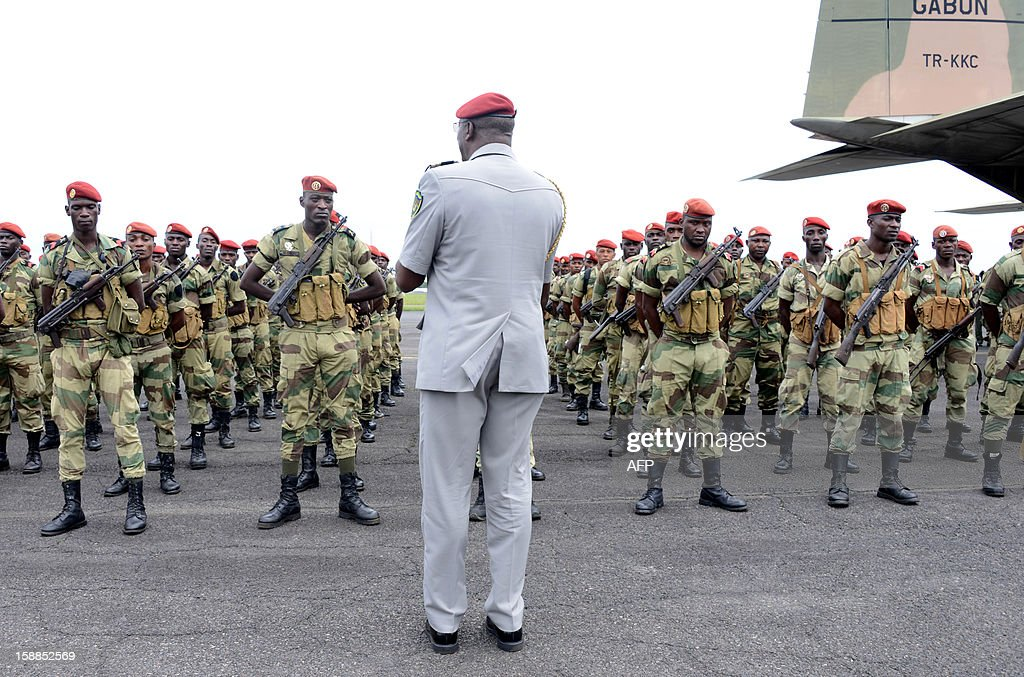 Gabon's soldiers stand in formation on January 1 2013 in Libreville as 120 soldiers will travel to the Central African Republic to reinforce the...