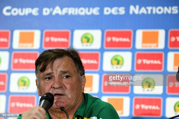 Gabon's Spanish coach Jose Antonio Camacho speaks during a press conference at the Stade de lAmitie Sinogabonaise in Libreville on January 13 2017 on...
