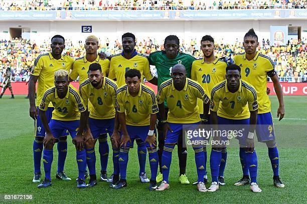 Gabon's squad defender Aaron Appindangoye midfielder Mario Lemina defender Bruno Ecuele Manga goalkeeper Didier Ovono forward Denis Bouanga forward...