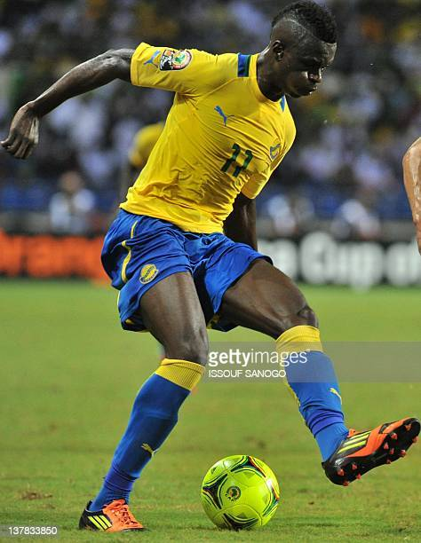 Gabon's striker Eric Mouloungui dribbles during the Africa Cup of Nations 2012 Group C football match between Gabon and Morocco at the stade de...