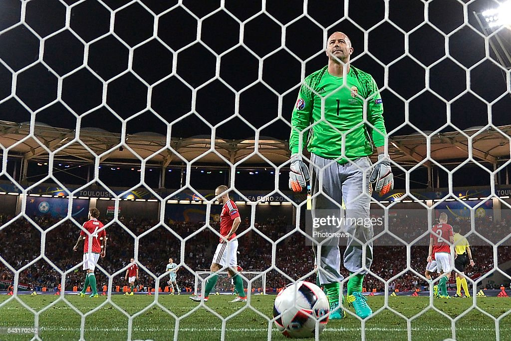 Gabor Kiraly goalkeeper of Hungary shows dejection during the UEFA EURO 2016 Round of 16 match between Hungary and Belgium at the Stadium Toulouse on June 26, 2016 in Toulouse, France ,