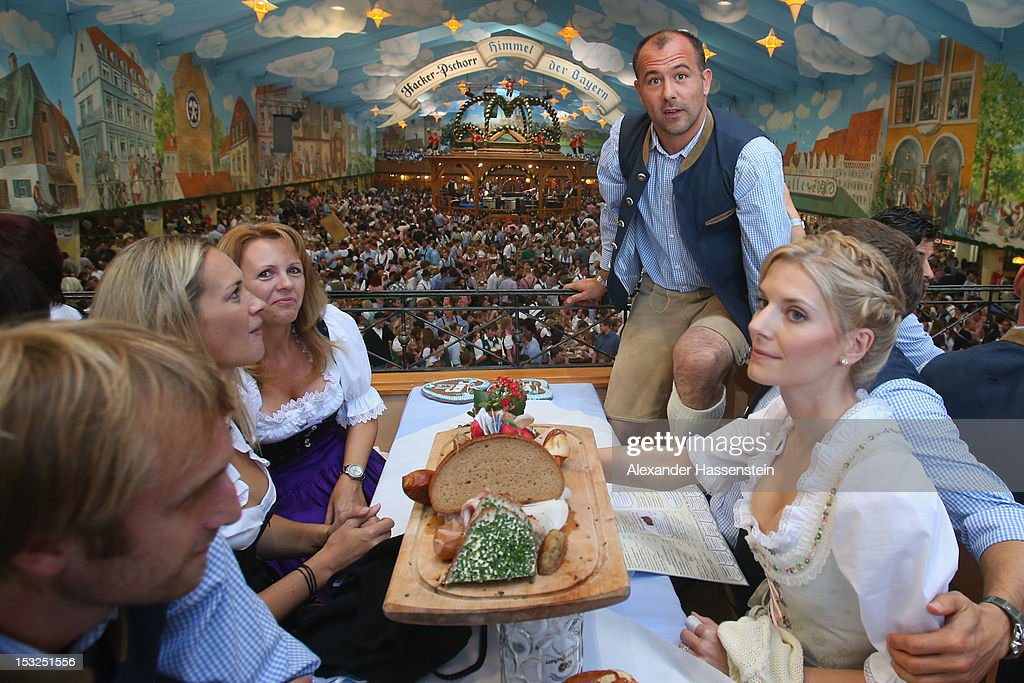 Gabor Kiraly, keeper of 1860 Muenchen attends with his team mates the Oktoberfest 2012 at Hacker Festzelt on October 2, 2012 in Munich, Germany.