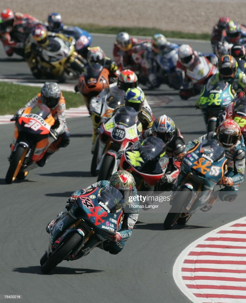 Gabor Talmacsi of Hungaria leads the field during the 125cc race in the German Moto Grand Prix at the Sachsenring Racetrack on July 15 2007 near...