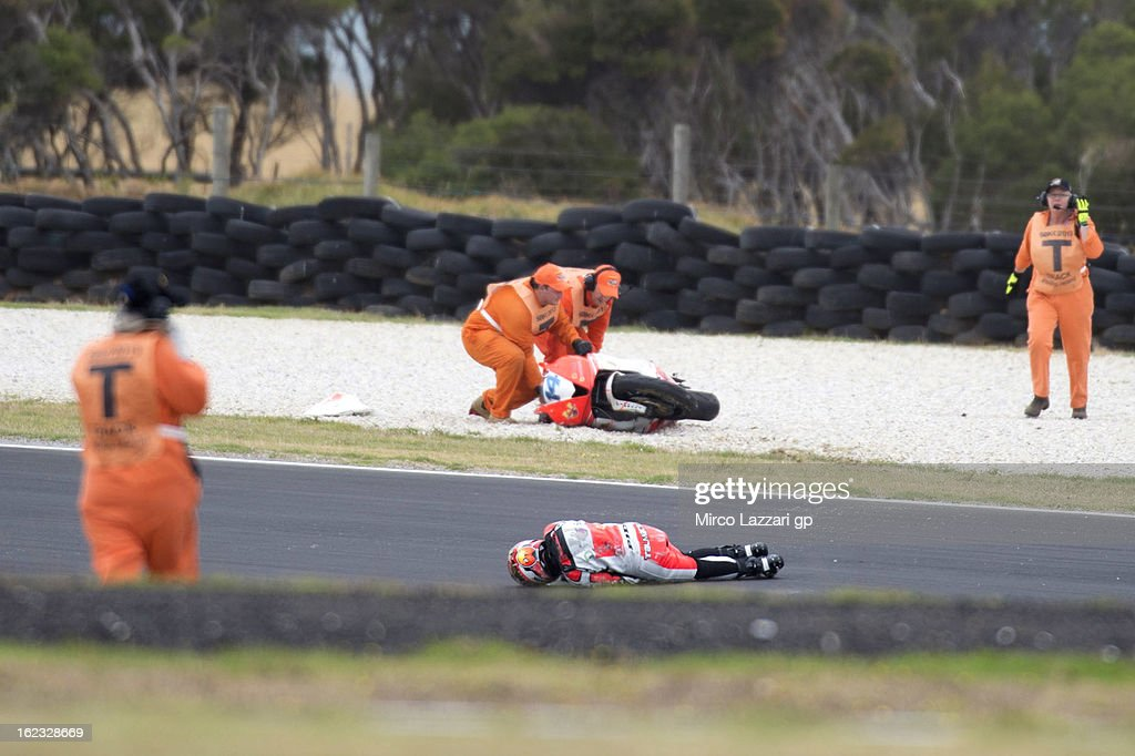 Gabor Talmacsi of Hungary and Prorace with medical staff after crashed out during the free practice of Supersport FIM World Championaship at Phillip Island Grand Prix Circuit on February 22, 2013 in Phillip Island, Australia.