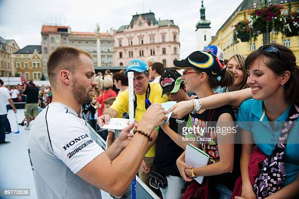Gabor Talmacsi of Hungary and Scot Racing Team signs autographs for fans during the preevent Floorball Match with Riders in Brno city on August 13...