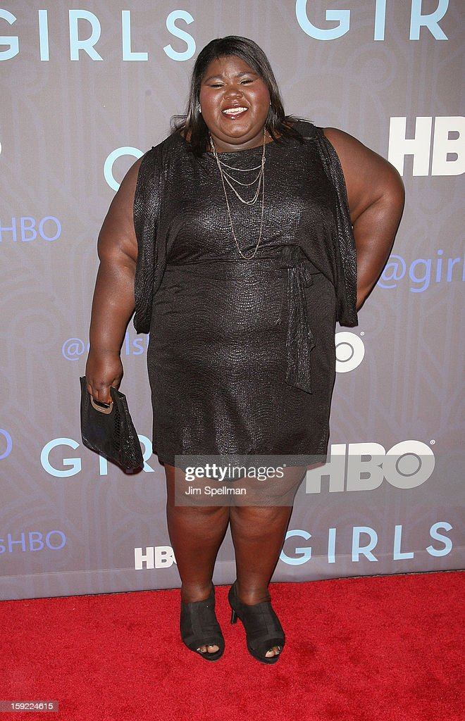 <a gi-track='captionPersonalityLinkClicked' href=/galleries/search?phrase=Gabourey+Sidibe&family=editorial&specificpeople=5667783 ng-click='$event.stopPropagation()'>Gabourey Sidibe</a> attends Cinema Society Presents The World Premiere Of 'Girls' Season 2at NYU Skirball Center on January 9, 2013 in New York City.