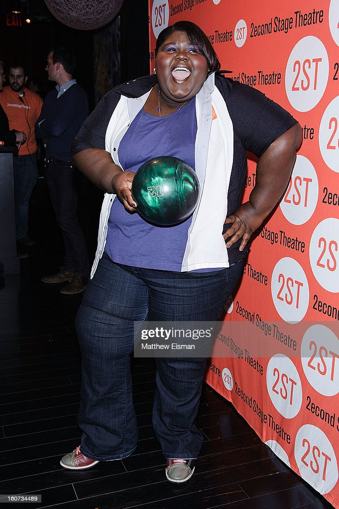 Gabourey Sidibe attends the Second Stage Theatre 2013 Bowling Classic at Lucky Strike on February 4, 2013 in New York City.