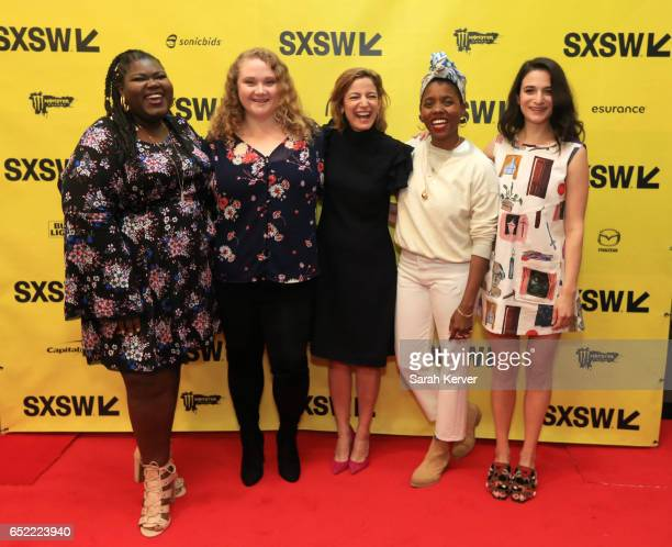Gabourey Sidibe Danielle Macdonald Editor in Chief of Glamour magazine Cindi Leive Janicza Bravo and Jenny Slate attend Glamour hosts A Conversation...