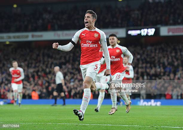Gabrial celebrates scoring for Arsenal during the Barclays Premier League match between Arsenal and AFC Bournemouth at Emirates Stadium on December...