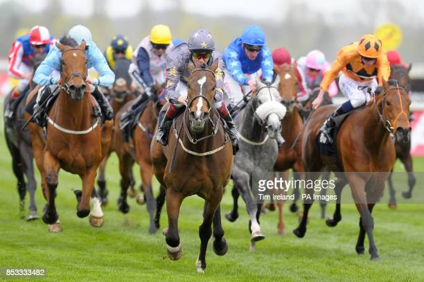 Gabrial's Kaka ridden by Jamie Spencer wins the Berry Bros Rudd Magnum Spring Cup during the Dubai Duty Free Weekend at Newbury Racecourse Berkshire