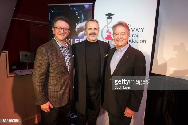 Gabriel Abaroa President and CEO of The Latin Recording Academy from left Latin GRAMMY Winner Miguel Bosé and Manolo Diaz Senior Vice President of...