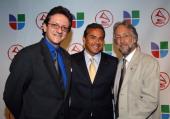 Gabriel Abaroa president of the Latin Recording Academy Los Angeles Mayor Antonio Villaraigosa and Neil Portnow president of The Recording Academy