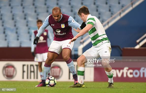 Gabriel Agbonlahor of Aston Villa and Anthony Reston of Celtic in action during the Premier League International Cup match between Aston Villa U23's...